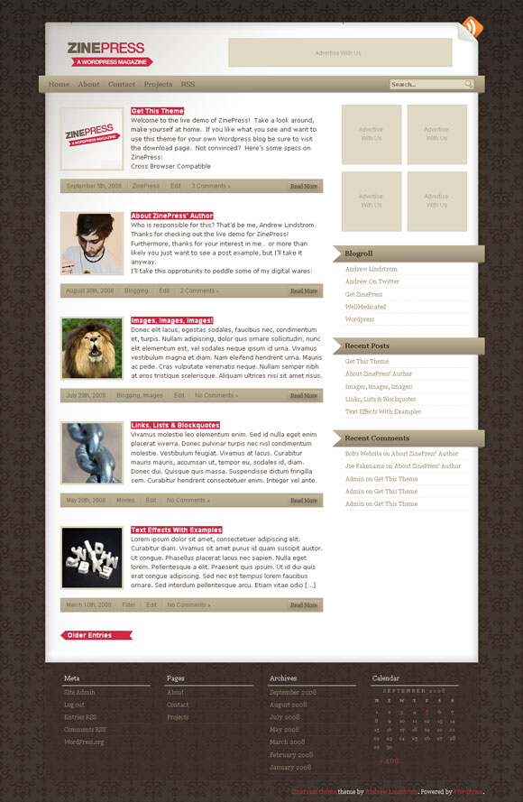 wordpress theme zinepress magazine